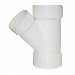 "PVC Reducing Wye, Hub, 4"" x 4"" x 3"" Pipe Size - Pipe Fitting"