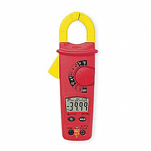 "Clamp On Digital Clamp Meter, 0° to 1000°F Temp. Range, 1-1/3"" Jaw Capacity, CAT III 600V"