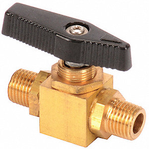 "Brass MNPT x MNPT Mini Ball Valve, Lever, 1/4"" Pipe Size"