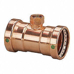 "Copper XL Tee, Press x Press x FPT Connection Type, 3"" x 3"" x 2"" Tube Size"