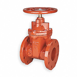 "Class 125 Flange Gate Valve, Inlet to Outlet Length: 9"", Max. Fluid Temp.: 160°F"