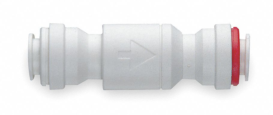 Check Valve,  3/8 in,  Single,  Inline Spring,  Acetal Resin Copolymer,  Push x Push