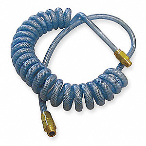 "20 Braided Coil Polyurethane Hose with 1/4"" Fitting Size and 1/4 Hose Inside Dia. (In.)"