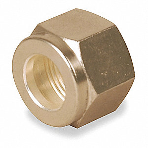 "Double Ferrule Nut, 3/8"" Tube Size, Metal, 11/16"" Hex Size"
