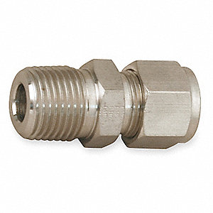 "Carbon Steel A-LOK® x MNPT Male Connector, 1/4"" Tube Size"