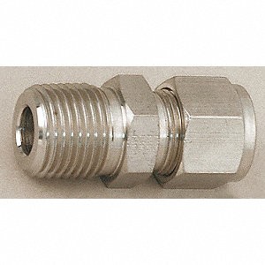"Male Connector, 1/2"" Tube Size, Metal, 13/16"" Hex Size"