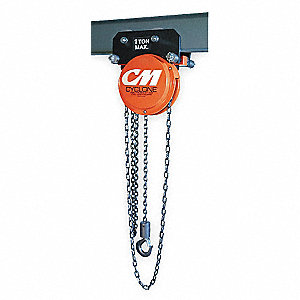 "Army Type Chain Hoist, 1000 lb. Load Capacity, 10 ft. Lift, 1"" Hook Opening"