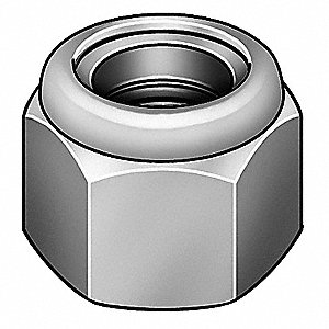 "1/4""-20 Nylon Insert Lock Nut, Plain Finish, 316 Stainless Steel, Right Hand, PK7000"