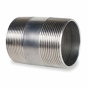 "2"" x 4"" 316 Stainless Steel Nipple, Pipe Schedule 40, Threaded on Both Ends"