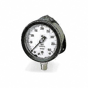 "Pressure Gauge, Liquid Filled Gauge Type, 0 to 300 psi Range, 4-1/2"" Dial Size"