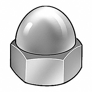 #10-32 Cap Nut, Chrome Plated Finish, Low Carbon Steel Grade 2, PK5