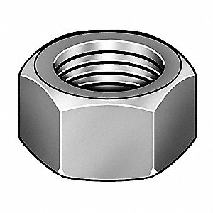 "1""-14 Hex Nut, Plain Finish, Grade 8 Steel, Right Hand, ASME B18.2.2, PK10"