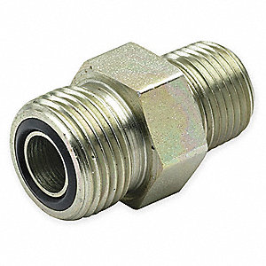 "Zinc Plated Steel MNPT x ORFS Male Connector, 3/8"" Tube Size"