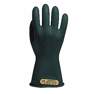 Black Electrical Gloves, Natural Rubber, 00 Class, Size 10-1/2