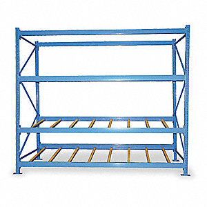 "96"" x 36"" x 84"" Steel Gravity Flow Rack, Gray&#x3b; Number of Shelves: 3"