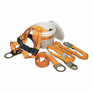 Yellow, Universal Size Fall Protection Kit, 310 lb. Weight Capacity, Tongue Leg Strap Buckles