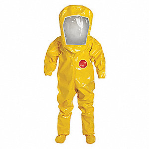 Level B Rear-Entry Encapsulated Suit, Yellow, Size L, Tychem® 9000