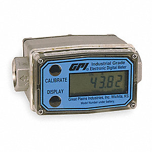 Turbine 1/2 FNPT Electronic Flowmeter, Brass, 1 to 10 gpm