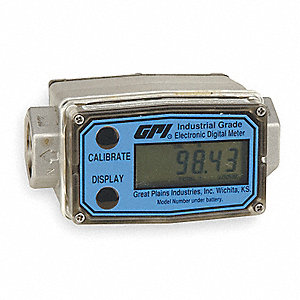 Turbine 3/4 FNPT Electronic Flowmeter, Stainless Steel, 2 to 20 gpm