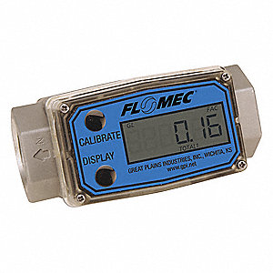 Turbine 1 FNPT Electronic Flowmeter, Stainless Steel, 5 to 50 gpm