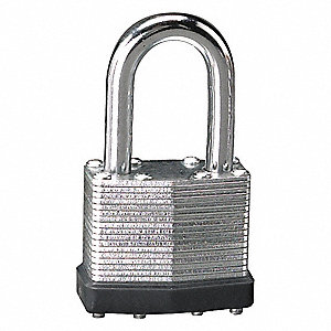 "Alike-Keyed Padlock, Extended Shackle Type, 2"" Shackle Height, Silver"