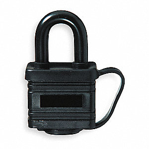"Alike-Keyed Padlock, Open Shackle Type, 1-1/8"" Shackle Height, Black"