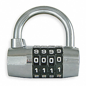"4-Dial Luggage and Briefcase Padlock, 1""H x 1-1/2""W Shackle, TSA Not Approved, Silver"