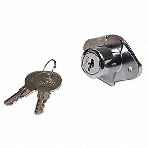 Keyed Alike Drawer Dead Bolt, For Door Thickness (In.): 1-1/8, Chrome