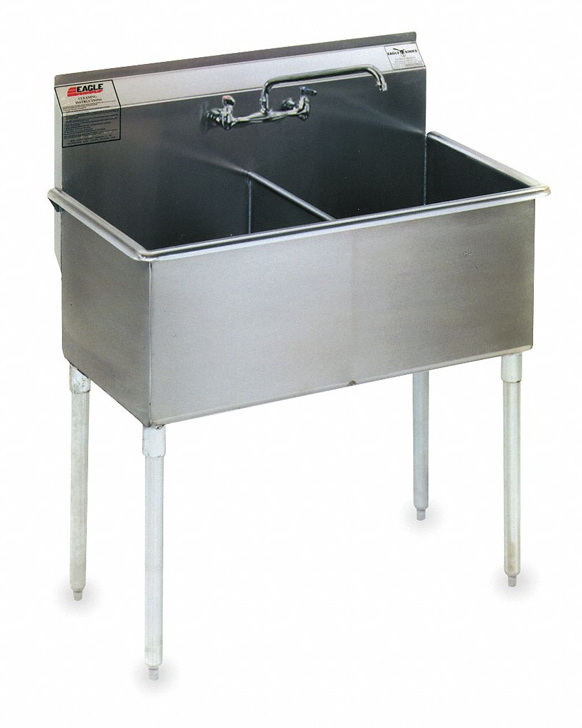 Utility Sink,  Stainless Steel,  37 3/8 in Overall Length,  25 in Overall Width