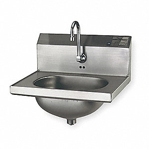 Stainless Steel Hand Sink, With Faucet, Wall Mounting Type, Silver
