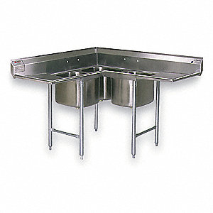 Stainless Steel Corner Scullery Sink, Without Faucet, 18 Gauge, Floor Mounting Type