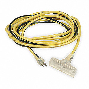 100 ft. Indoor, Outdoor Lighted Extension Cord; Max Amps: 15.0, Number of Outlets: 3, Yellow with Bl