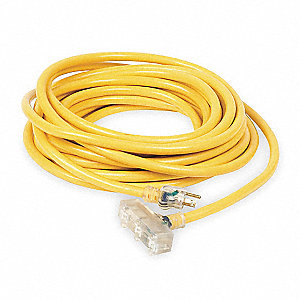 100 ft. Indoor, Outdoor 125V Lighted Extension Cord, 15 Max. Amps, Yellow