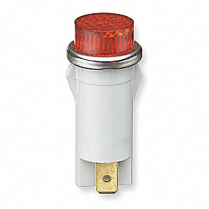 "Raised Indicator Light, 1/2"" Mounting Dia., 28VAC/DC Voltage, Terminal Connection: 0.187"" Spade"