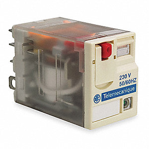 240VAC, 5-Pin Square Base General Purpose Plug-In Relay&#x3b; AC Contact Rating: 15A @ 277V