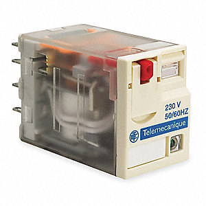 240VAC, 8-Pin Square Base General Purpose Plug-In Relay&#x3b; AC Contact Rating: 12A @ 277V