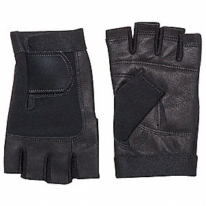 Anti-Vibration Gloves, Pigskin Leather Palm Material, Black, M, PR 1