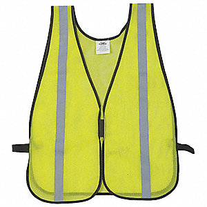 Lime High Visibility Vest, Size: XL to 3XL, Unrated ANSI Class, Hook-and-Loop Closure Type