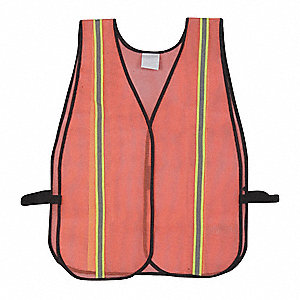 Orange/Red with Yellow/Green and Silver Stripe Hi-Visibility Vest, ANSI Unrated Closure, Universal