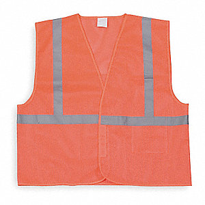 Orange/Red with Silver Stripe High Visibility Vest, ANSI 1, Hook-and-Loop Closure, 2XL