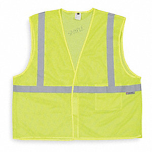 Yellow/Green with Silver Stripe High Visibility Vest, ANSI 1, Hook-and-Loop Closure, 3XL