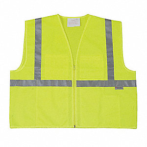 Yellow/Green with Silver Stripe High Visibility Vest, ANSI 1, Zipper Closure, 2XL