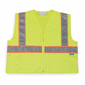 Yellow/Green with Orange/Silver Stripe Traffic Vest, ANSI 2, Zipper Closure, L
