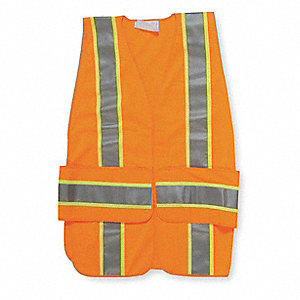 Orange/Red with Silver Stripe Traffic Vest, ANSI 2, Hook-and-Loop Closure, M/L