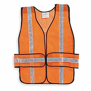 Orange/Red with Silver Stripe Breakaway High Visibility Vest, ANSI Unrated, Hook-and-Loop Closure, U