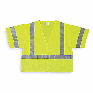 Yellow/Green with Silver Stripe High Visibility Vest, ANSI 3, Hook-and-Loop Closure, L
