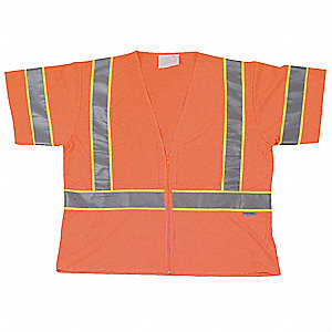 Orange/Red with Silver Stripe Traffic Vest, ANSI 3, Zipper Closure, L