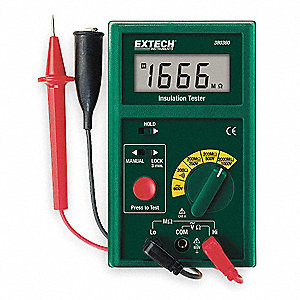 Digital LCD Battery Operated Megohmmeter&#x3b; Insulation Resistance Range: 0.1 to 2000 megohm