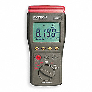 Digital LCD Battery Operated Megohmmeter; Insulation Resistance Range: 0.001M to 10 gigohm