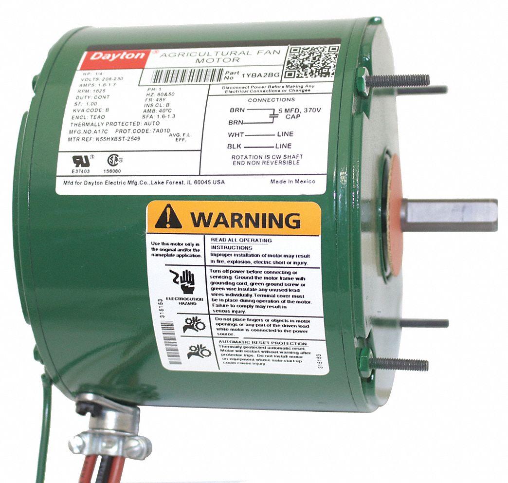 Dayton 1 4 Hp Agricultural Fan Motorpermanent Split Capacitor1625 Motor Wiring Diagram Wires Nameplate Rpm208 230 Voltage 1yba2 1yba2bg Grainger